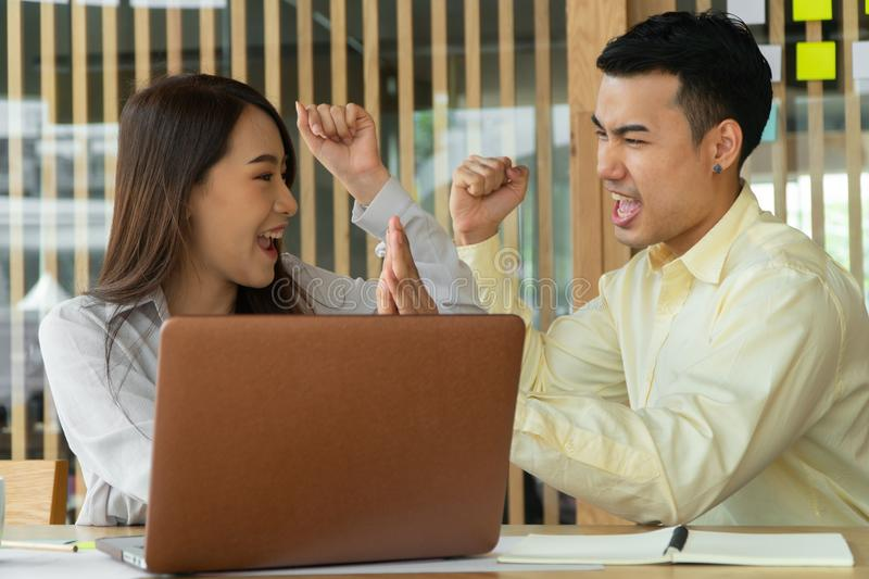 Happy Asian couples be smile after calculating income And expenses because it receives profits from investments. Concepts for inve. Stment planning and financial stock images