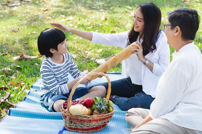 Happy Asian family has leisure or picnic in the park on the weekend or holiday. Grandmother, daughter and grandson are in beautifu stock photos