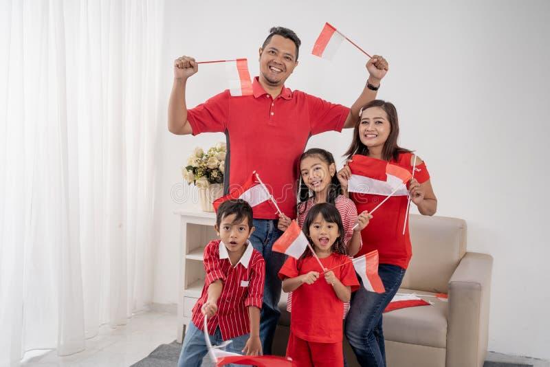 Family indonesia celebrating independence day stock image