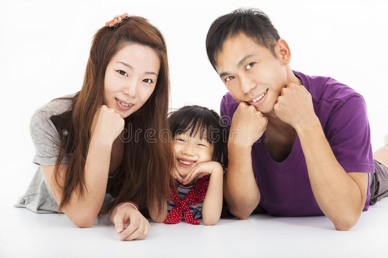 Happy asian family isolated royalty free stock images