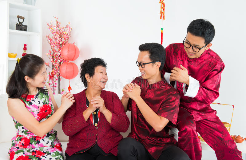 Happy Asian family reunion. Happy chinese new year. Happy Asian family reunion at home stock photography