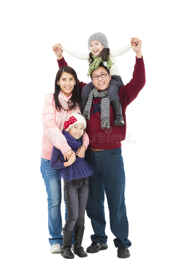 Happy asian family in winter clothes stock images