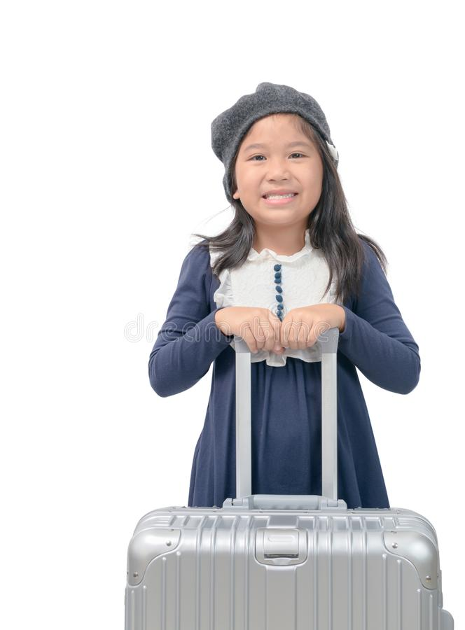 Happy asian girl with baggage isolated royalty free stock images
