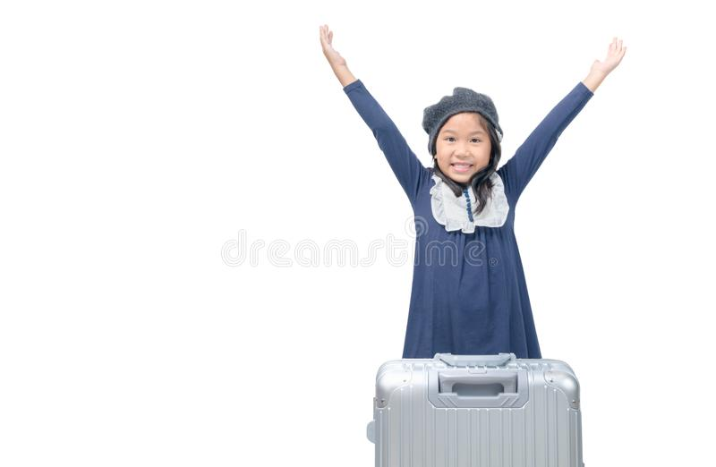Happy asian girl with baggage isolated on white royalty free stock photography