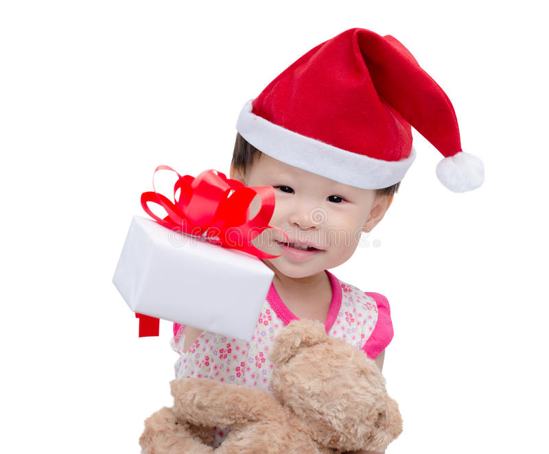 Happy asian girl with christmas hat stock image
