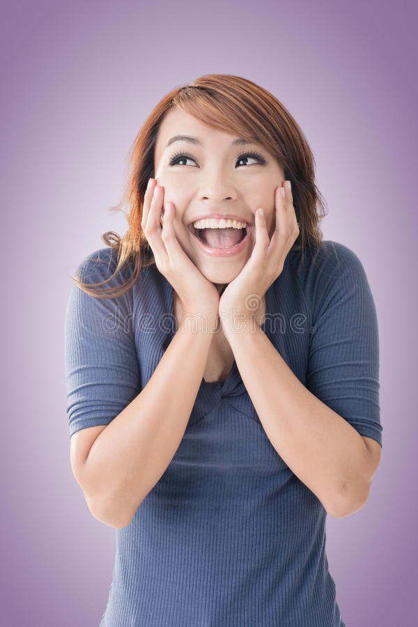 Happy Asian girl face. Excited happy Asian girl face, closeup portrait stock image