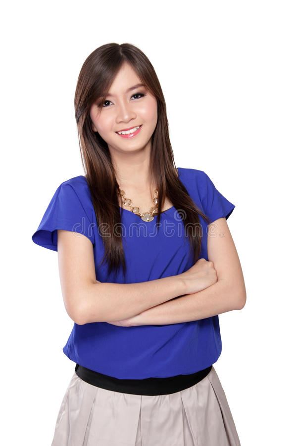 Happy Asian girl pose with crossed arms, on white royalty free stock images