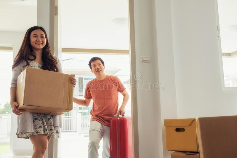 Couple moving to new house stock image