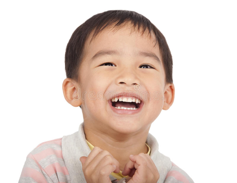Happy asian kid. Isolated on white royalty free stock photography