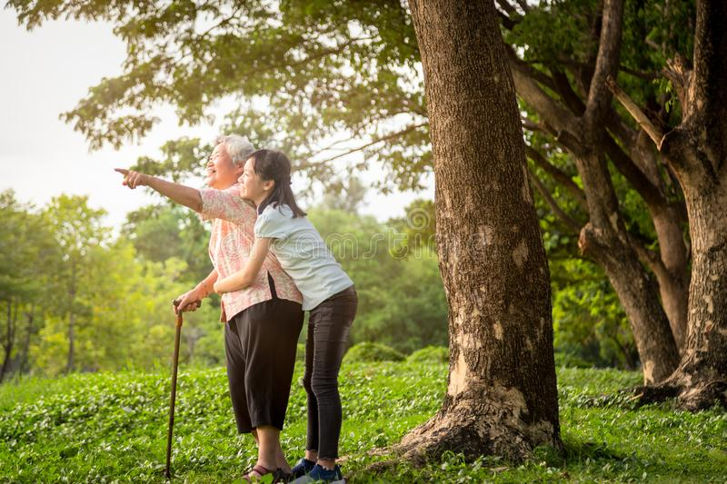 Happy asian little child girl support,hug senior grandmother,smiling granddaughter in outdoor park,elderly woman with walking stock image