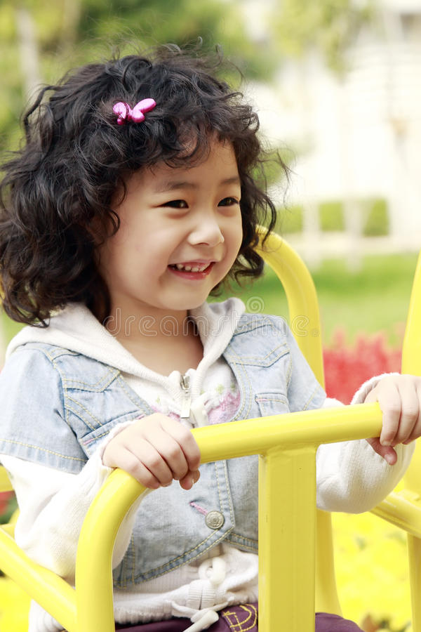 Happy Asian little girl stock photo
