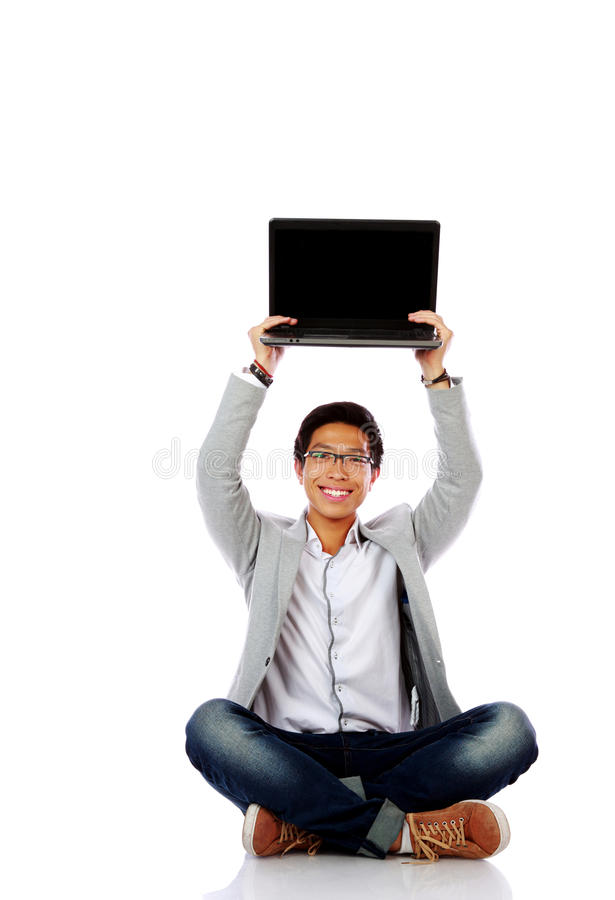 Download Happy Asian Man Sitting On The Floor Stock Photo - Image: 43014760