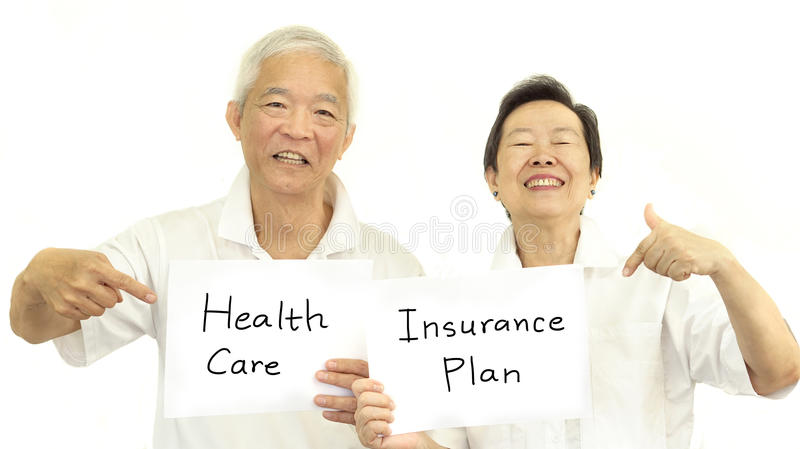 Happy Asian senior couple health care and insurance plan concept. Happy Asian senior couple health care insurance plan concept stock image
