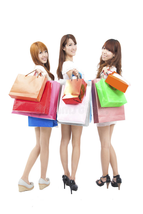 Happy asian shopping woman stock image