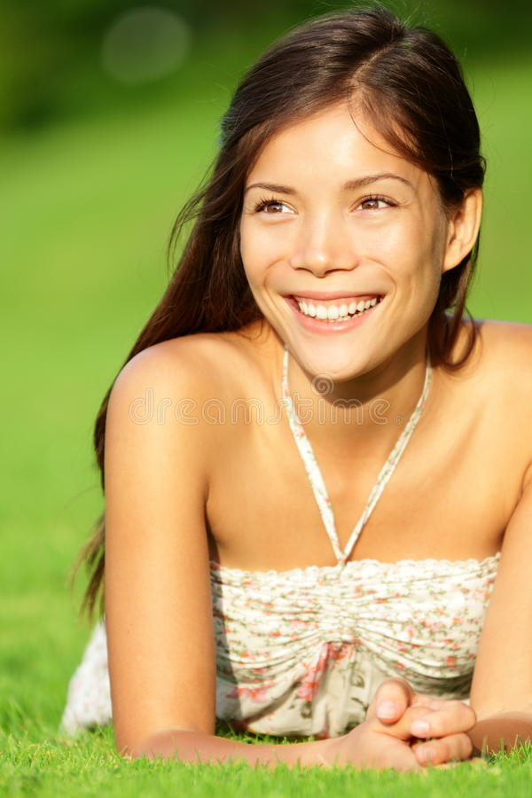 Happy asian spring woman royalty free stock images