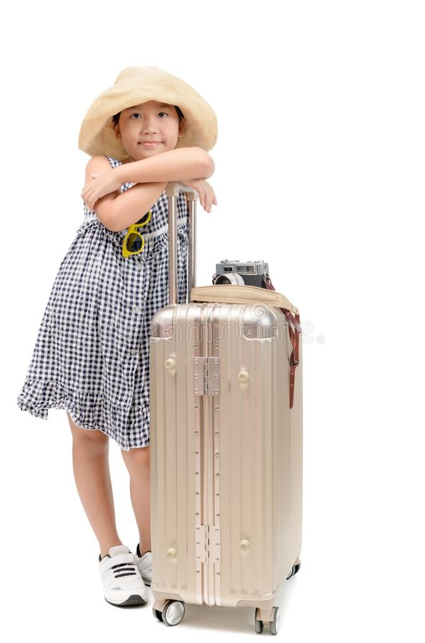Happy asian traveler with baggage isolated stock photography