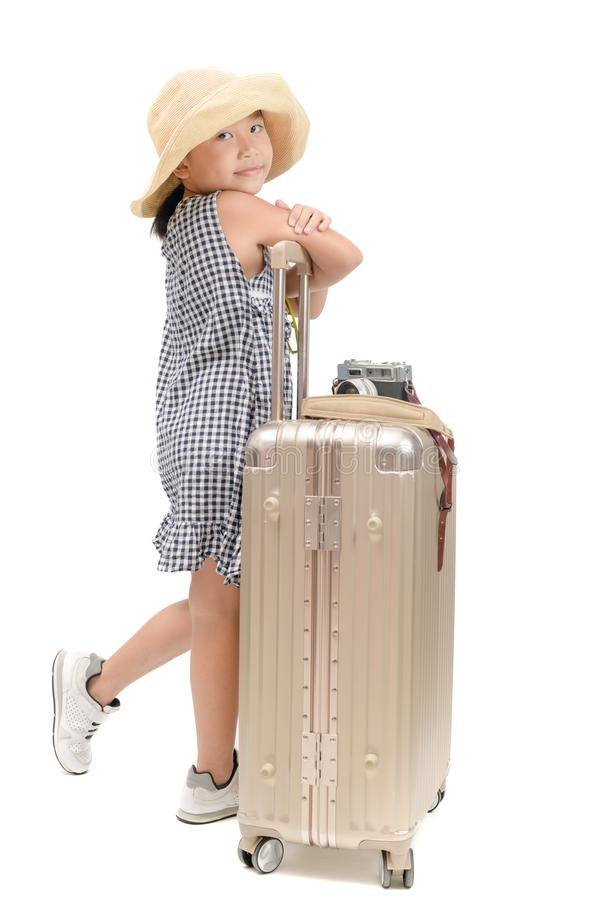 Happy asian traveler with baggage isolated royalty free stock images
