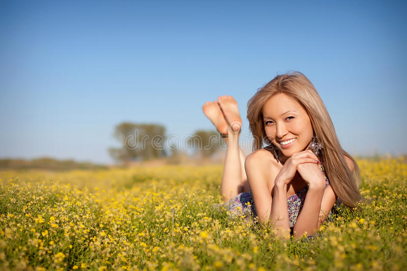 Happy asian woman beauty portrait. Young happy asian woman beauty portrait royalty free stock photos