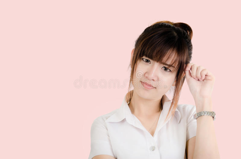 Happy Asian young woman surprising isolated royalty free stock photos