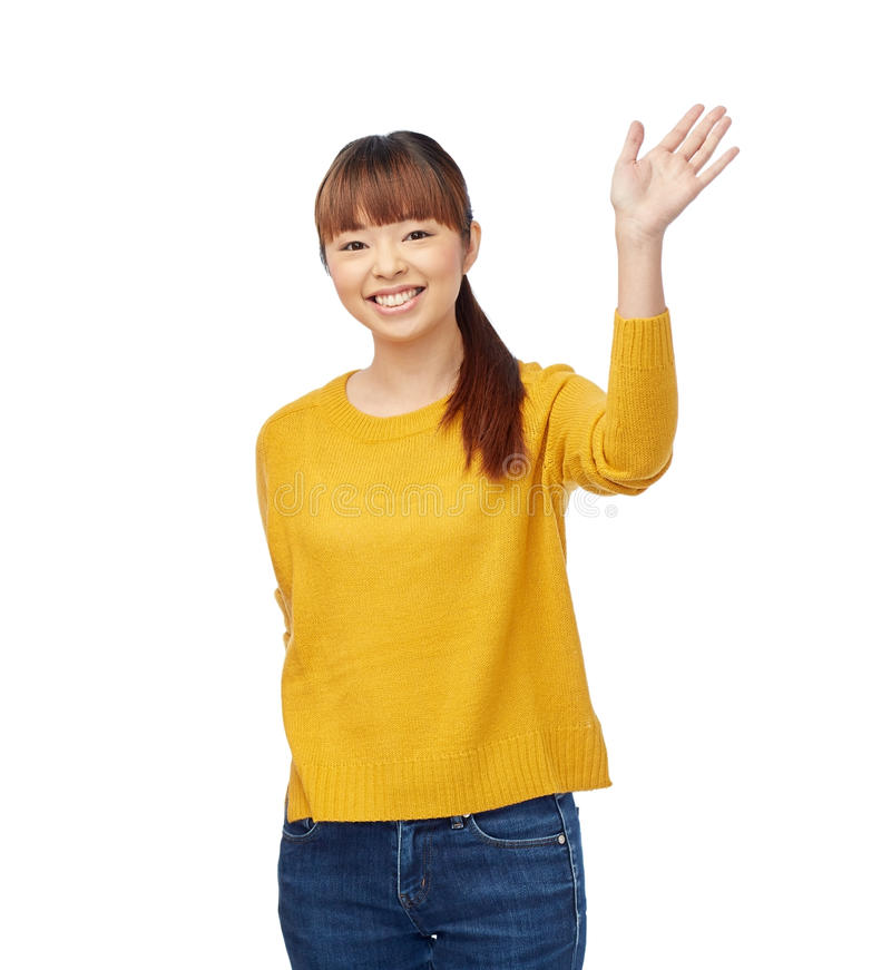 Happy Asian Young Woman Waving Hand Over White Stock Photo ...