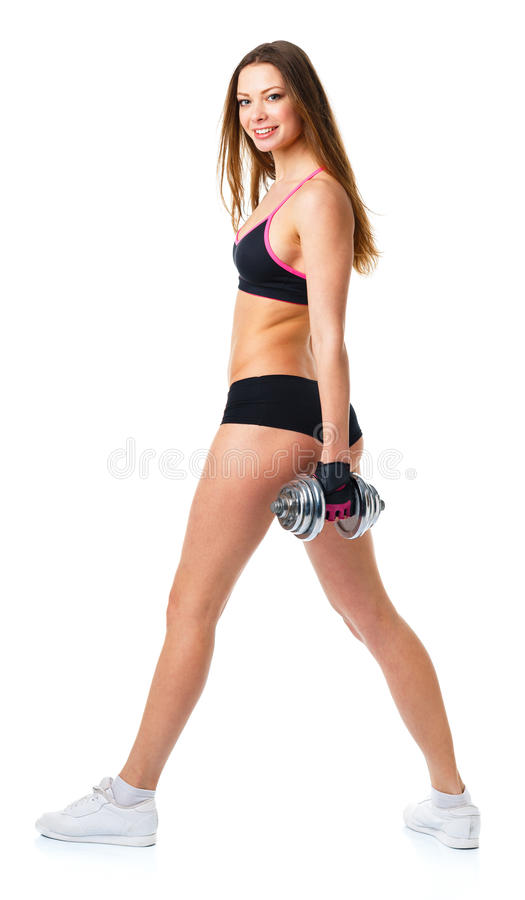 Happy athletic woman with dumbbells doing sport exercise, isolated on white stock image