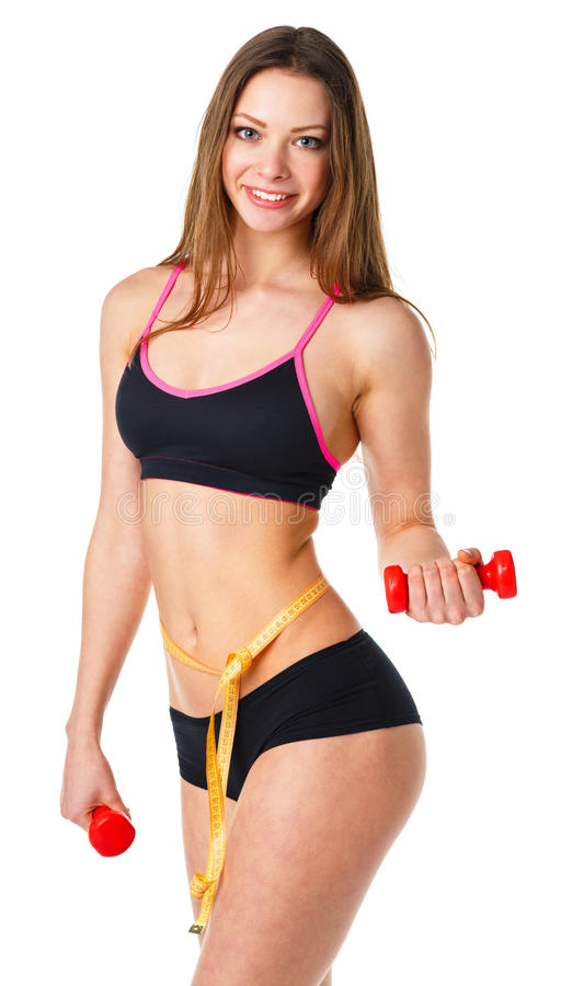 Happy athletic woman with dumbbells doing sport exercise, isolated on white stock photography