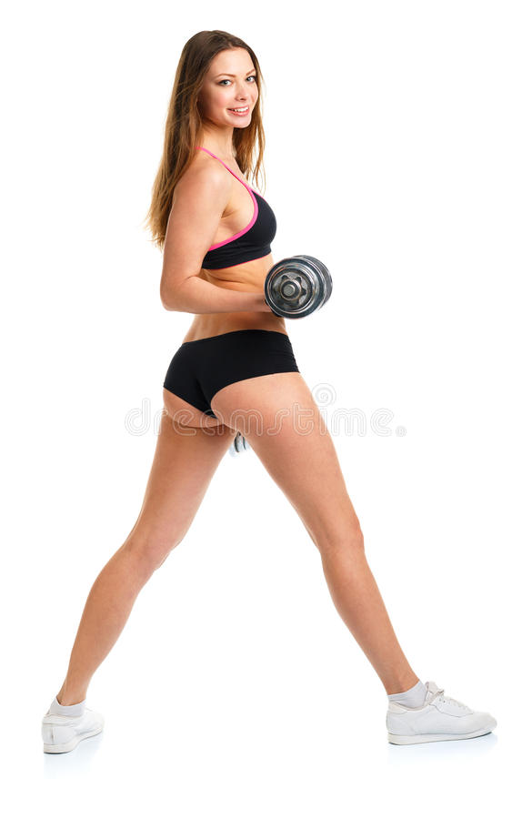 Happy athletic woman with dumbbells doing sport exercise royalty free stock photos