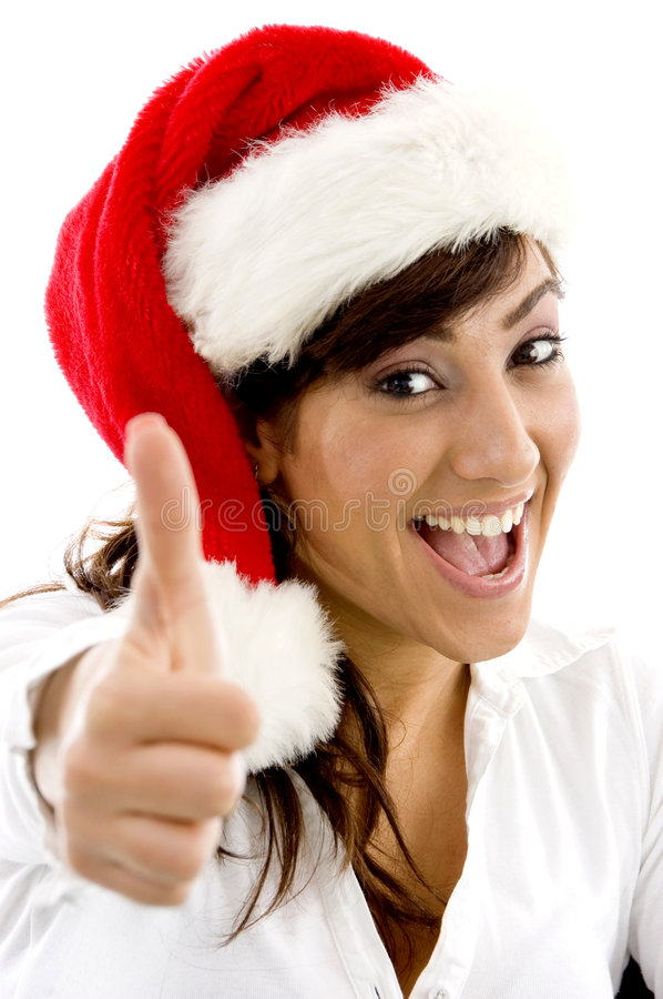 Download Happy Attorney In Christmas Hat With Thumbs Up Stock Photo - Image: 7366446