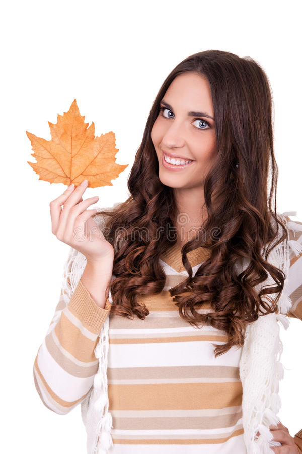 Free Happy Attractive Autumn Woman Holding Leaf Royalty Free Stock Photography - 16722687