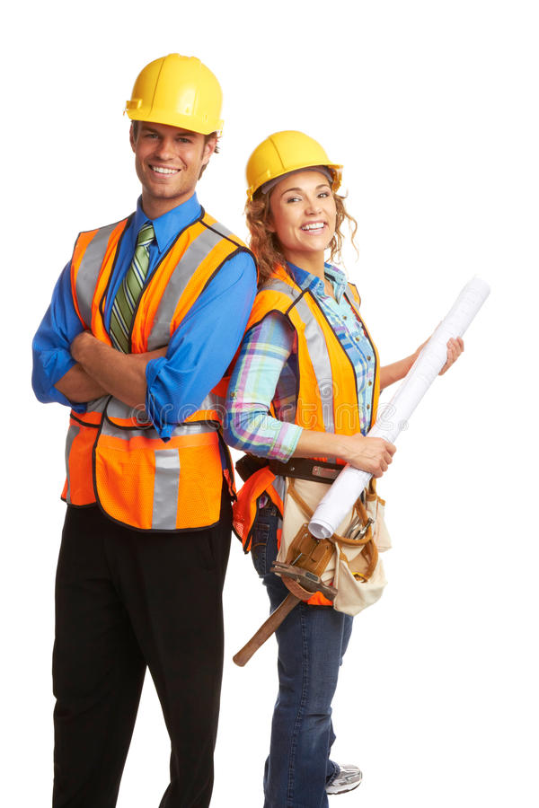 Happy attractive construction workers royalty free stock images