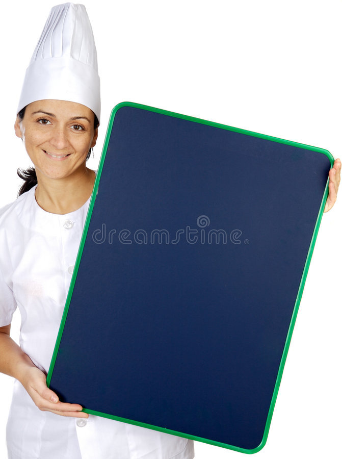 Happy attractive cook woman whit slate royalty free stock photography