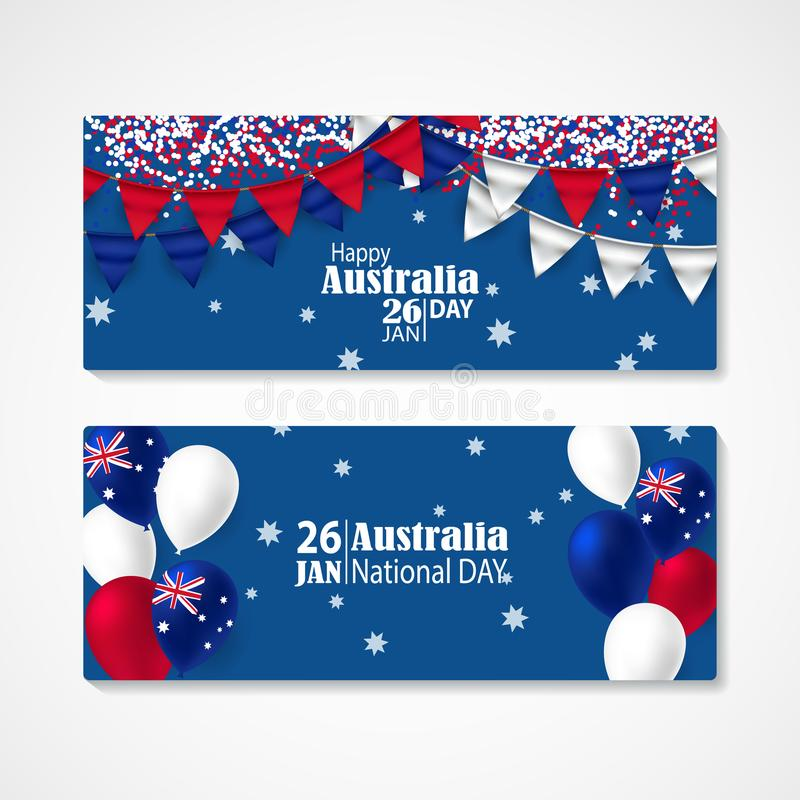 Happy Australia Day Celebration Poster Or Banner Background Set ...