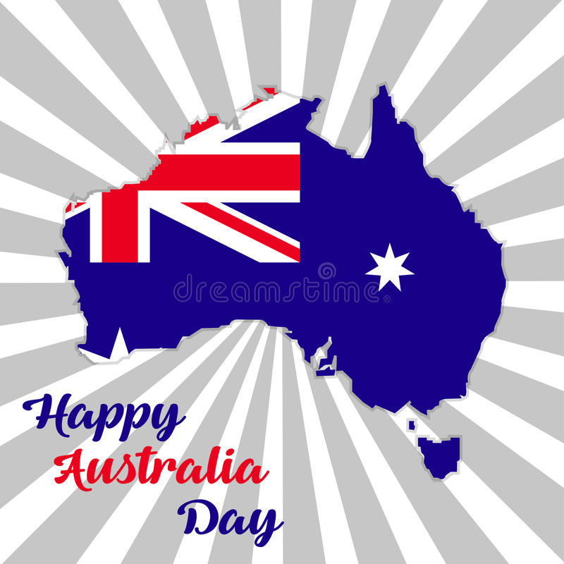 Happy Australia day lettering. Map of Australia with flag on a rays background stock illustration