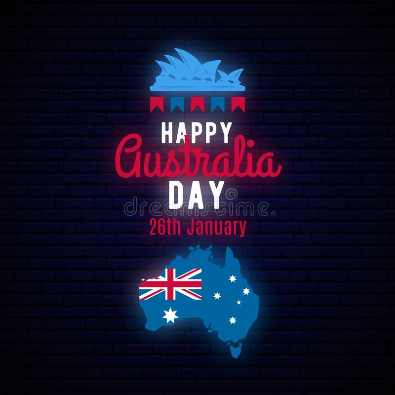 Happy Australia Day neon greeting banner. stock illustration