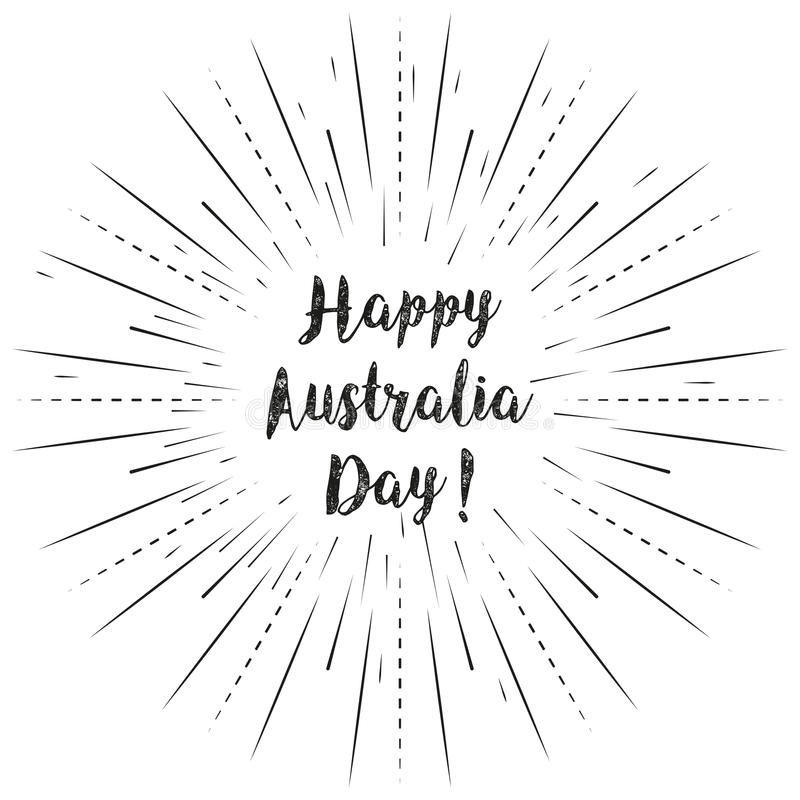 Happy Australia Day text with sun rays linear background. Vector card design with custom calligraphy stock illustration