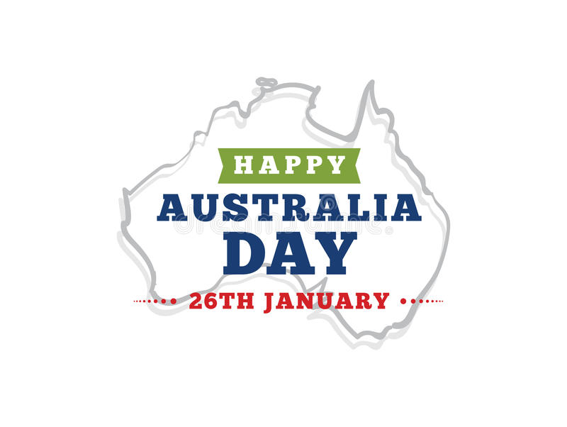 Happy Australia day vector design. Happy Australia Day. Vector typography, text design. Usable for banners, greeting cards, gifts etc. 26th of January vector illustration