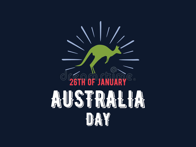 Happy Australia day vector design. Happy Australia Day. Vector typography, text design. Usable for banners, greeting cards, gifts etc. 26th of January stock illustration