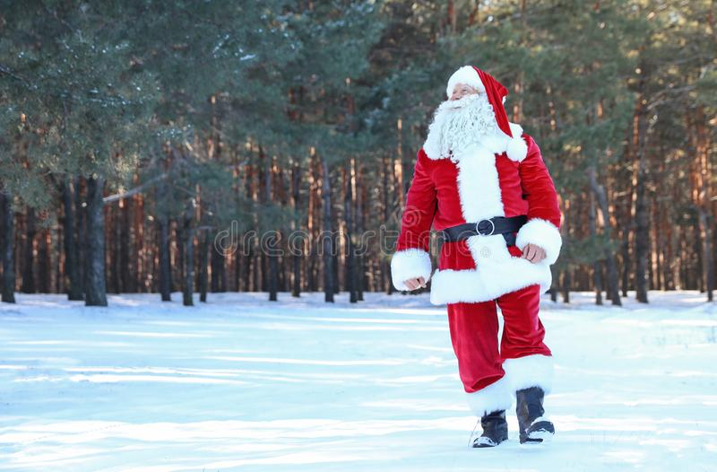 Happy Authentic Santa Claus walking outdoors. Space for text stock image