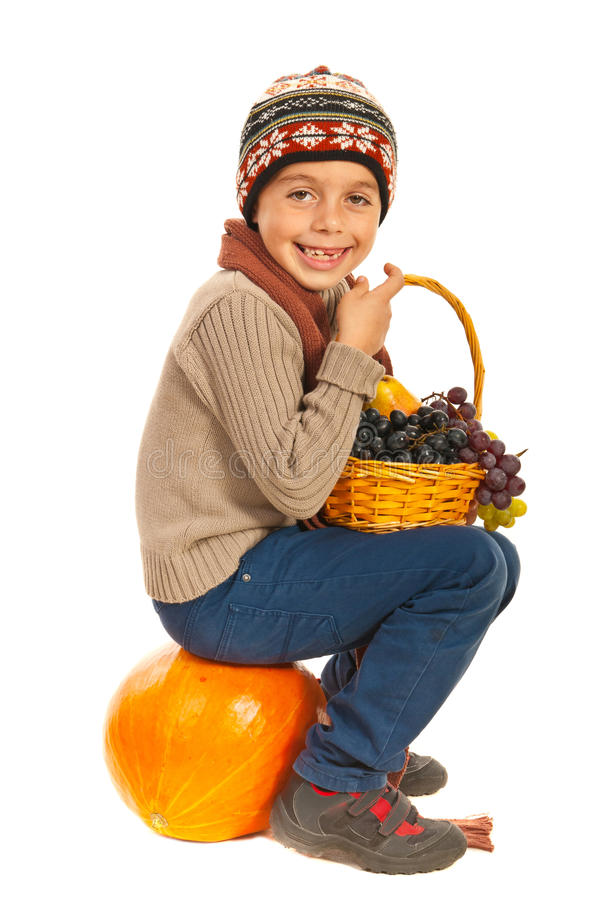 Happy autumn boy royalty free stock image
