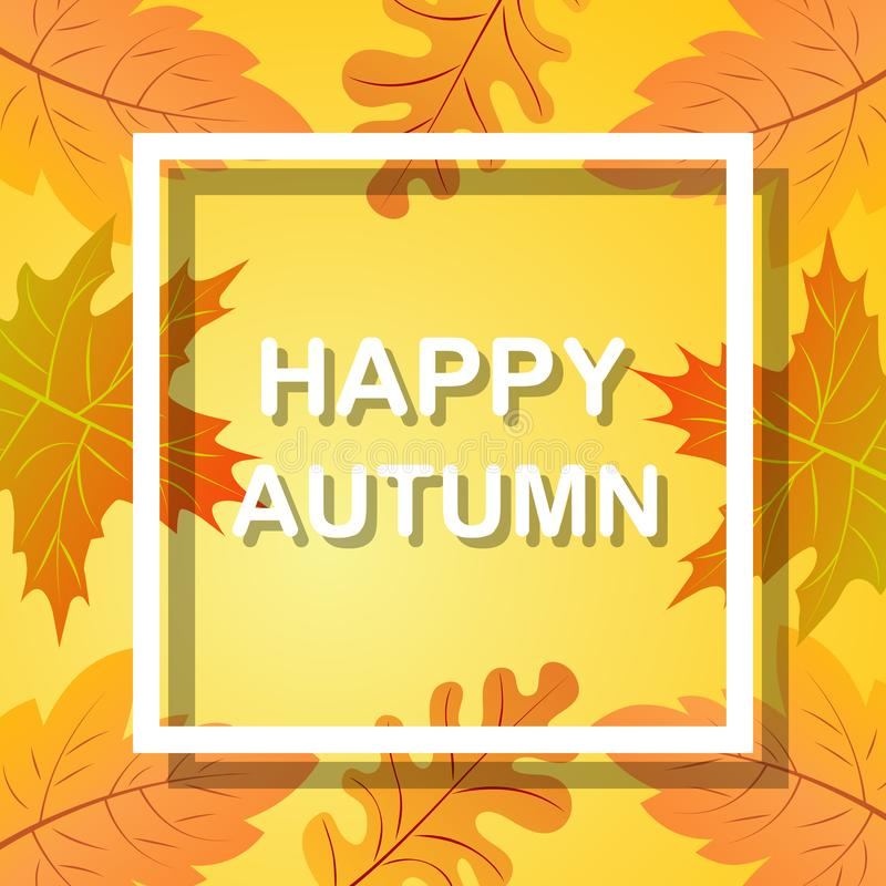 Happy Autumn, fall background with bright golden maple leaves. Abstract poster illustration . Blurred soft backdrop stock illustration