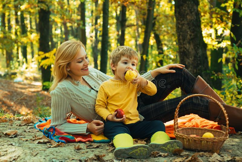 Happy autumn sunny day. Family Camping in the Park and eating apple. Active people and happy family concept. Outdoors royalty free stock photos