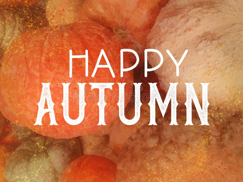 Happy Autumn in white typography letters on slightly blurred and textured orange pumpkins and gourds, fall festival or autumn harv. Est party graphic art design stock photo