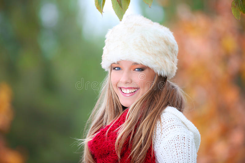 Happy autumn woman royalty free stock images