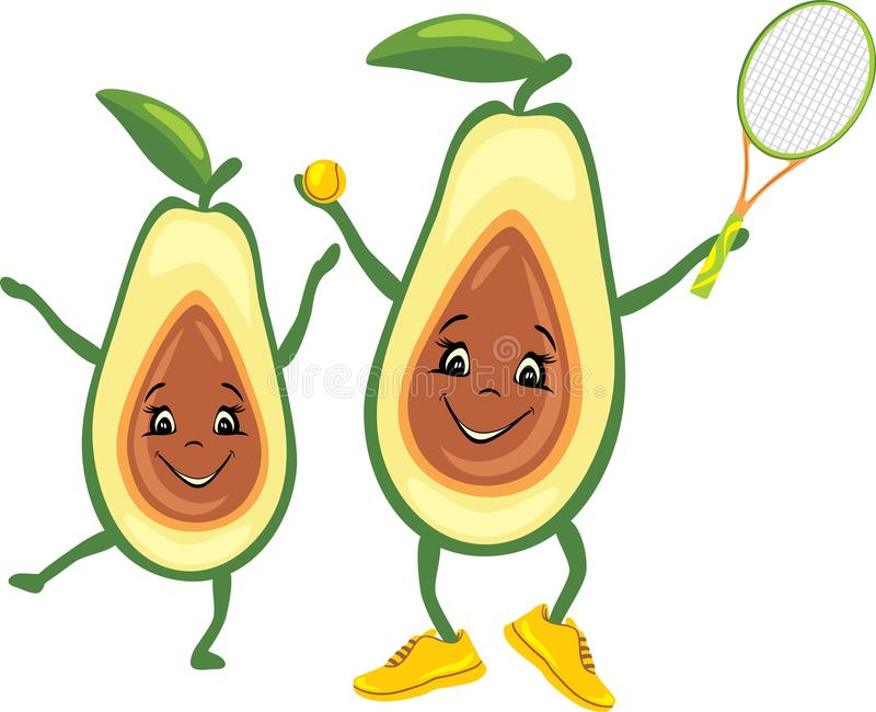 Happy avocado tennis player with his friend stock photography
