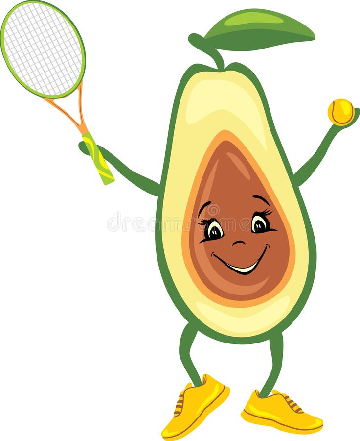 Happy avocado tennis player stock photo