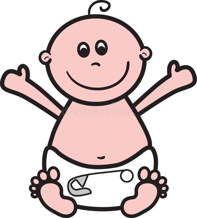 Happy Baby. Cute simple baby in nappy