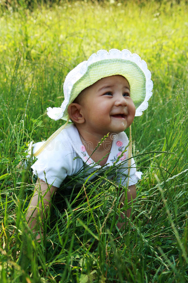 Download Happy baby stock image. Image of clothes, vegetation - 20035919