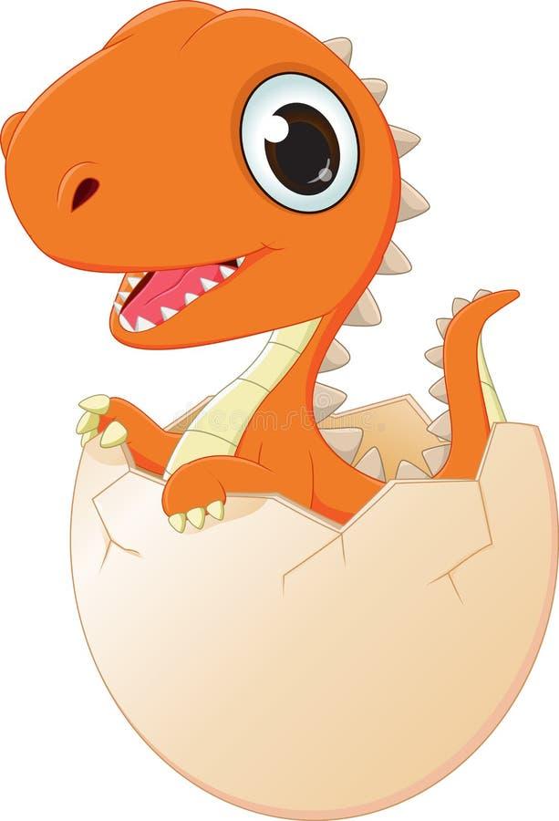 Happy baby dinosaur hatching. Vector illustration of happy baby dinosaur hatching on white vector illustration