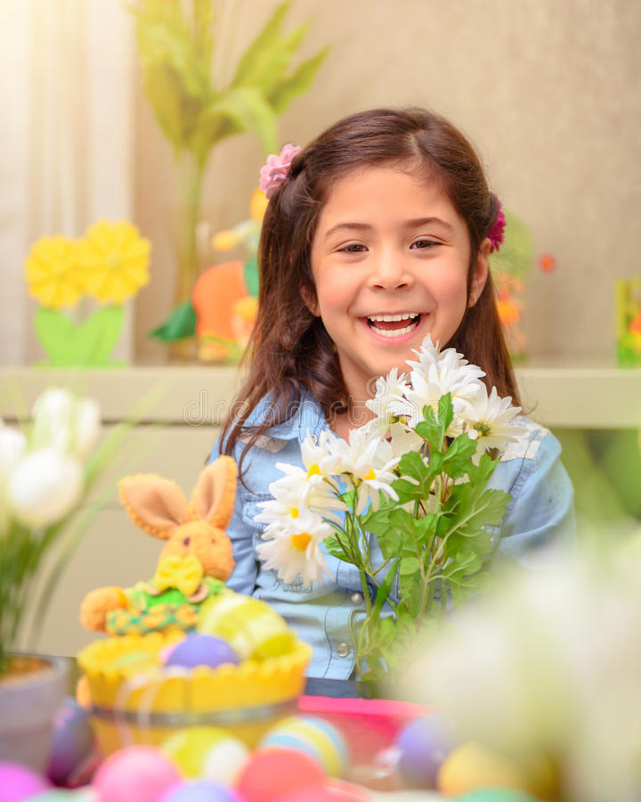 Happy baby in Easter holiday stock images
