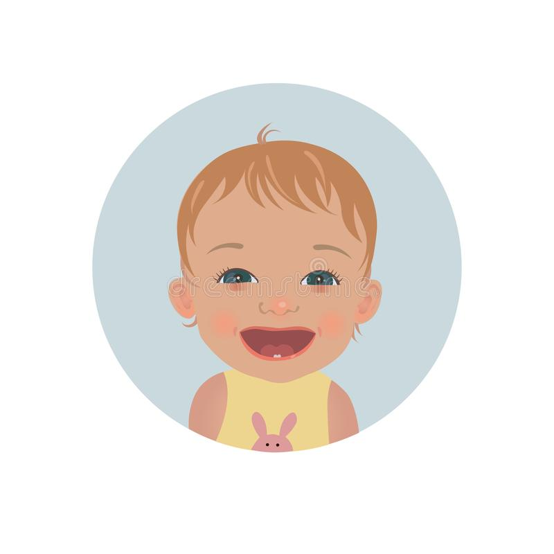 Happy baby emoticon. Smiling child emoji. Cute cheerful toddler smiley. Happy baby emoticon. Smiling child emoji. Cute cheerful toddler smiley vector icon royalty free illustration